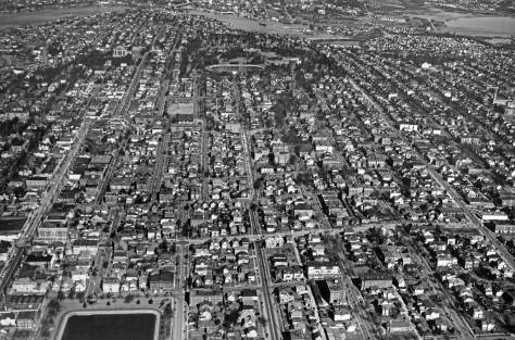 The heart of Capitol Hill looking north from on high on April 7, 1946, but without the Littlefield, which is out-of-frame to the right.  (Courtesy, Ron Edge)