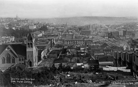 Frank LaRoche's ca. 1891 look south down Third Ave. from the Denny Hotel construction site on the south summit of Denny Hill.  On the left are the Methodists at the southeast corner of Pine Street and Third Avenue.