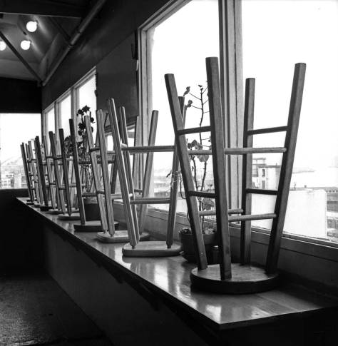 The stools at Soup and Salad, after closing for the day.