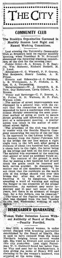 The Brooklyn Community Club's news from March 25, 1902.