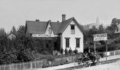 THEN: In the late afternoon and evening of Seattle's Great Fire day, June 6, 1889, Leigh and Lizzie Hunt's home at the northwest corner of Fourth Avenue and Columbia Street was, within a few hours, arranged to accommodate the family's business, The Seattle Post-Intelligencer newspaper. (Courtesy Lawton Gowey)