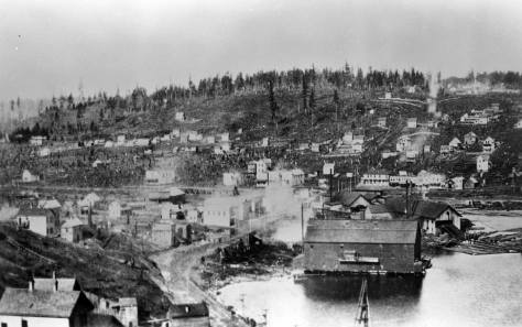 Probably the earliest extant panorama of Fremont from any prospect - circa 1891. The early low bridge is hard to make out in the emitting atmosphere of mill.