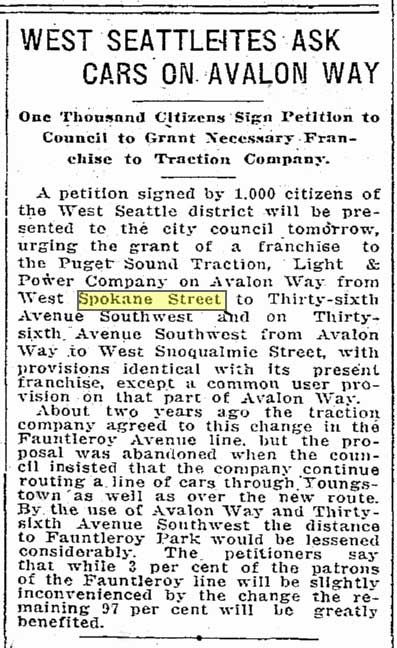 A Seattle Times clip from April 30, 1916 reporting on  the neighborhood's activism for more trolley service.