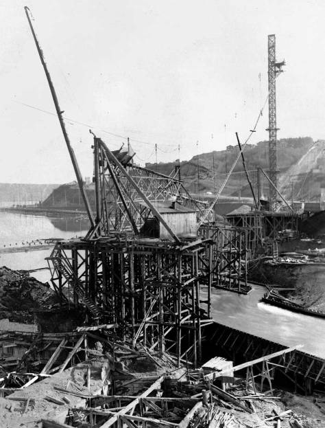 Early work on the north pier being prepared for concrete,  March 23, 1916.