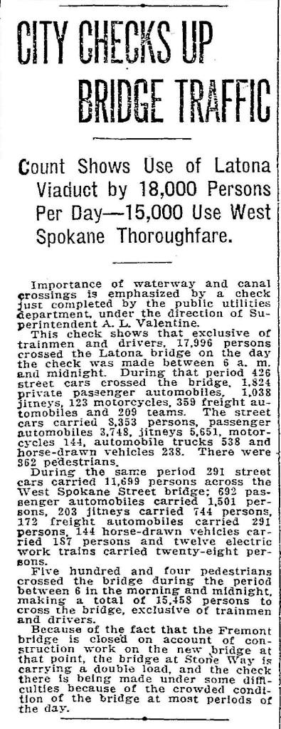 A Seattle Times report on the city's study of bridge traffic, Nov. 6, 1915.