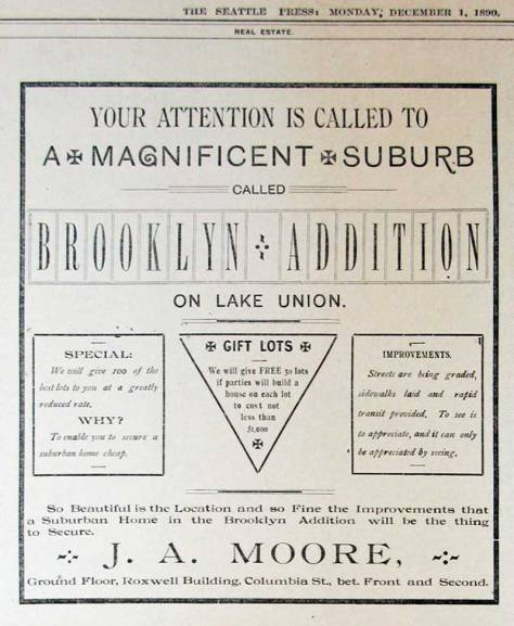 A paid promotion for the then new Brooklyn addition placed in The Seattle Press for Dec. 1, 1890.