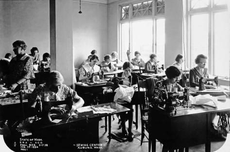 A W.E.R.A. sewing center in Auburn, Feb.27,1934.