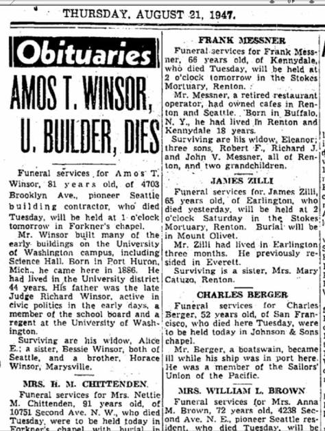 Amos T. Winsor's obituary for Aug. 21, 1947