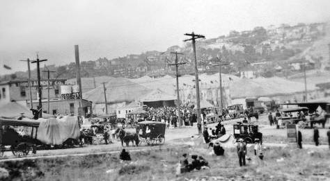 Getting situated, the Troy Laundry, far left, was near the northwest corner of 4th Ave. N. and Republican Street.  So the unnamed circus big tops are between Republican and Mercer Streets and at least west of 4th Avenue.  (Courtesy, Lawton Gowey)