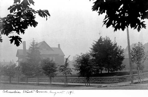 Looking to the northeast towards the Lowman Home from the corner of Boren and Columbia in 1896.