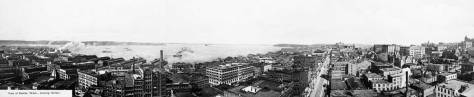 A circa 1905 pan of the waterfront and business districts taken from the top of the Alaska Building when it was new.