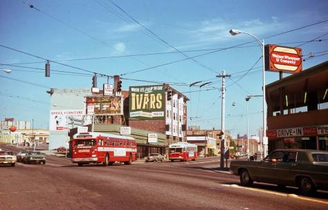 Ivars sign here still holds to the north facade of the