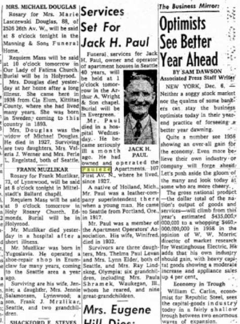 Jack Paul's obituary as is appeared in The Seattle Times for Dec. 6, 1957.