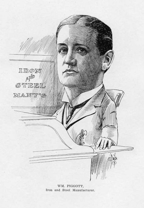 "William Piggott in his place, as rendered on page 180 of the 1906 book of sketches titled ""Cartoons and Caricatures of Seattle Citizens"""