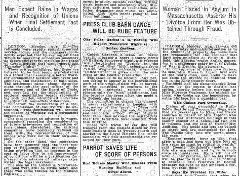A Times short Aug. 21, 1911 report on a planed Press Club Barn Dance at Treat's Golden Gardens.