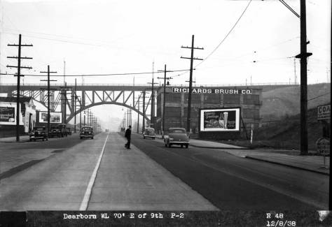 Dearborn looking east through 9th Avenue on Dec. 8, 1938.