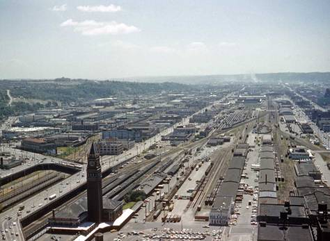 Another look from the Tower to the former tideflats.  Lawton Gowey is the likely photographer, and circa 1960 would be close.  The I-5 Freeway is not yet scouring through the Beacon Hill greenbelt on the left, and the Kingdome (remember that?) is not around either.