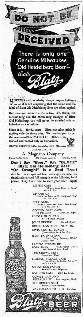 A Blatz adver pulled from The Seattle Times for