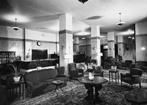 The interior of the Frye Hotel.  (We have assumed this from context.  It came with the exterior view above it.)