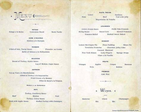 Thanksgiving Day menu for the Occidental Hotel, 1887. (Courtesy, Ron Edge)