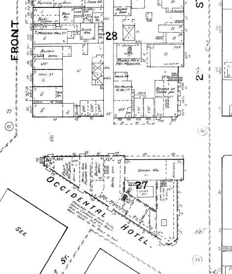 A detail from the 1888 Sanborn Real Estate Map for Seattle. (Courtesy, National Archives)