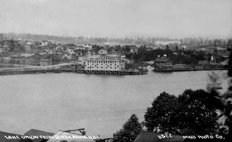 A detail of our featured neighborhood near Densmore and Ewing as recorded by Oakes, a purveyor of real photo postcards, from the Queen Anne side of Lake Union.  This dates from a few years later than 1907.