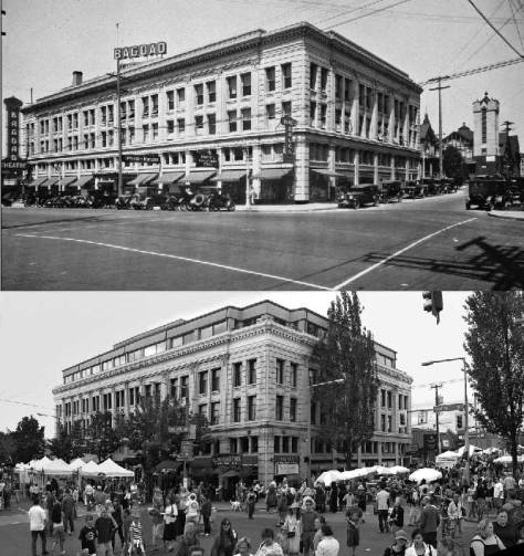 The Bagdad then and during a recent Ballard Stret Fair.