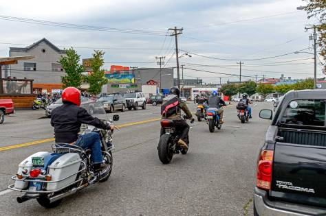 """NOW: On September 17th last Jean Sherrard took this """"repeat"""" with the 2 Bit Saloon on the far left. It was the last day and night for the tavern, which timed its finale with that month's Backfire Motorcycle Night in Ballard."""