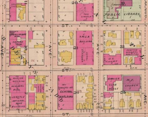 A detail from the 1908 Baist real estate map compliments of Historic Seattle and Ron Edge. (Ron scanned the complete map.)  Columbia Street runs along the bottom, while Third Avenue runs bottom-to-top left-of-center.