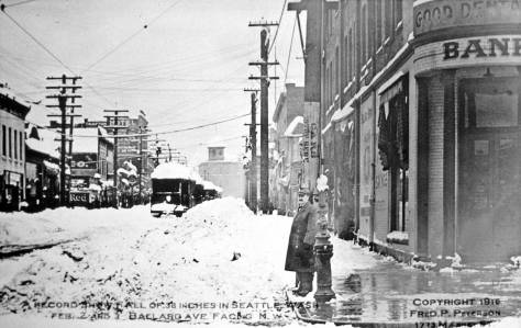An look northwest on the mostly brick Ballard Avenue during the 1916 Big Snow.