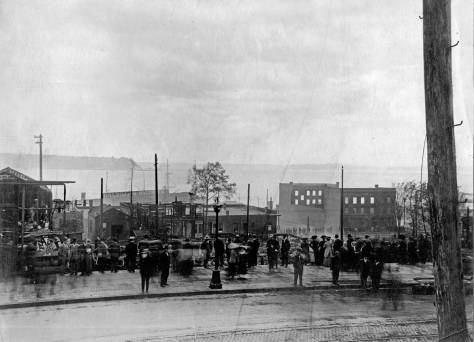 The 1910 fire's remains seen west over First Avenue.