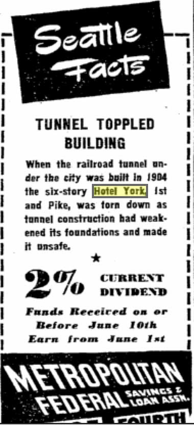 """Through out community's history, it's story has been adopted by businesses to help promote their products and/or services.  Here in 1947 is one of Metro Fed. Savings """"Seattle Facts.""""  This one remembers the meeting of the railroad tunnel and the hotel."""