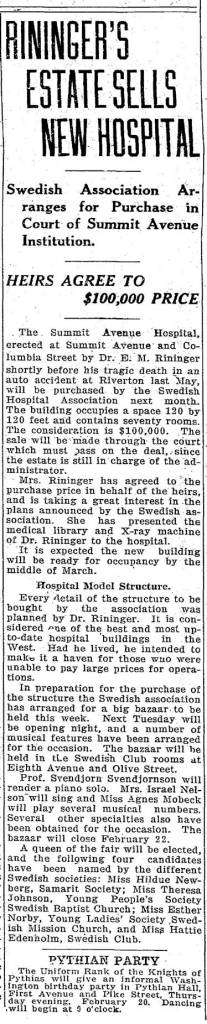 A clipping from The Seattle Times for Feb. 16, 1913.