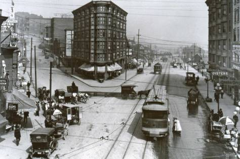 "On the left Fourth Avenue still climbs Denny Hill ca. 1908 - but not for long.  (Courtesy, THE MUSEUM of HISTORY and INDUSTRY ""also known as"" MOHAI)"