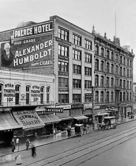 THEN: Looking south on First Avenue from its northwest corner with Madison Street, circa 1905.  (Courtesy Museum of History and Industry)