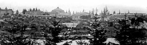A two-card panorama of the Alaska Yukon Pacific Exposition's fitting on the UW campus in 1909, photographed by Otto Frasch from the Capitol Hill side of Portage Bay.
