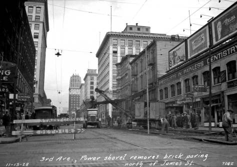Looking north on Third Avenue from James Street on November 13, 1928 during some road work.   The