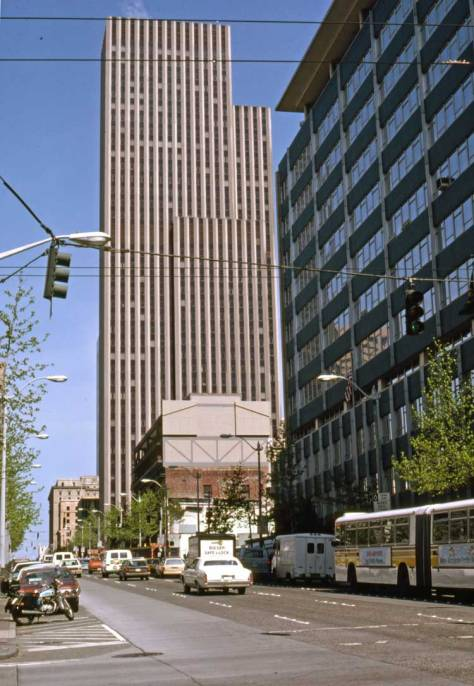 Lawton Gowey's look up Fourth and over James Street on May 19, 1982, with City Hall on the right.