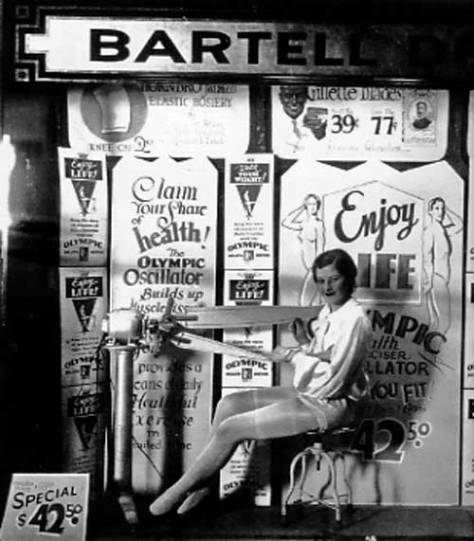 Also in the historylink book, Bartell Store Nol. 9 with the Olympic Oscilator, which may make you a champion, in the window nearby at Bartell Store No. 9 at Second Ave. and Pike Street.