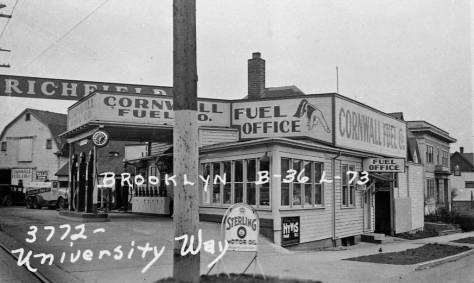 Reaching the corner and 3772 University Way in 1937.  (Courtesy of Washington State Archive, Bellevue Puget Sound Branch - like the rest.)