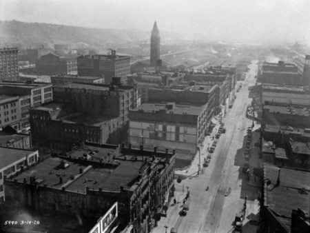 Before the Second Ave. Extension, looking south from the Smith Tower on March 14, 1928.  (Courtesy Municipal Archive)
