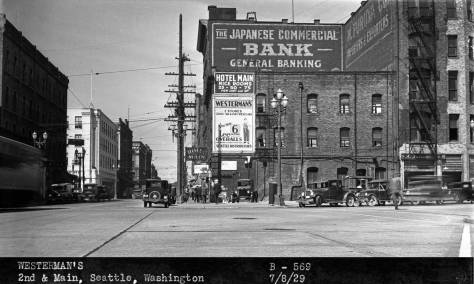 Another of the Foster and Kleiser billboard records, this one dated July 8, 1929, and so soon after the completion of the Second Ave. Extension.  The scene looks west on Main Street and across the freshly paved Extension.  As the company's caption makes clear, this negative we exposed for the billboard on the east facade of the Hotel Main advertising Westerman's Oversalls.