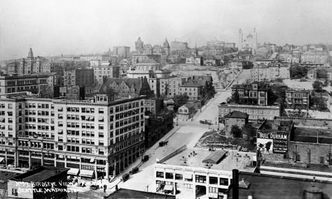 Fire Hill and Columbia Street seen from the Hoge Building at Second and Cherry.  When it was completed in 1911, the Hoge was the tallest in Seattle, until it was soon surpassed by the Smith Tower.