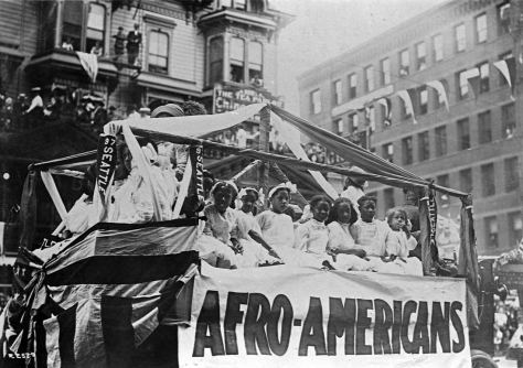 Two years earlier for the 1911 Golden Potlatch parade, the Afro-American float passed in front of the Stetson-Post.
