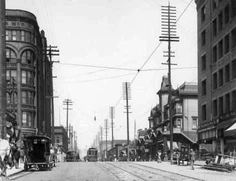 The Burke and Stetson-Post looking across Second Ave at each other, cira 1903.  The Empire is still four years in the future.