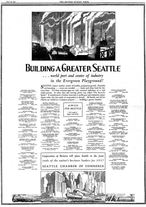 As it turned out the Seattle Chamber of Commerce's full-page advertisement  for July 25, 1937 was premature.  The rise of the economy that was the trend in the beginning of July a month later began its moved in the other direction: down.