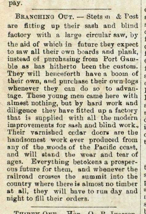 Early intelligence of the partners Stetson and Post published in the Post-Intelligencer for February 8, 1878.