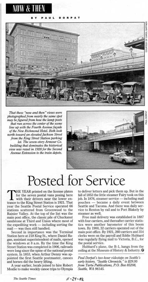 Some of the Post-Office rolling stock that replaced the teams.   (This first appeared in Pacific, Nov. 24, 2002)