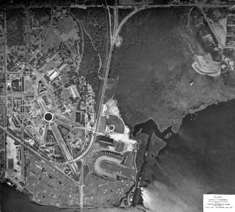 A 1939 vertical aerial of the campus, Anderson Hall included