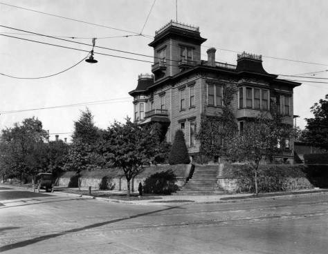 The Granville Haller big home at the northeast corner of James Street and Terry Avenue as seen form the back lawn of the Campbell home.